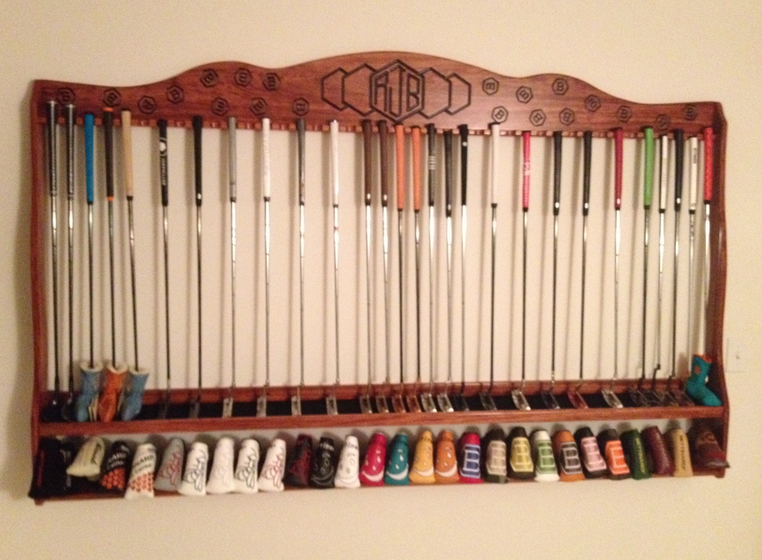 Custom Built Putter And Headcover Racks To Display Putters